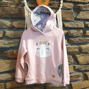 Size 4 kitten pink hooded jumper